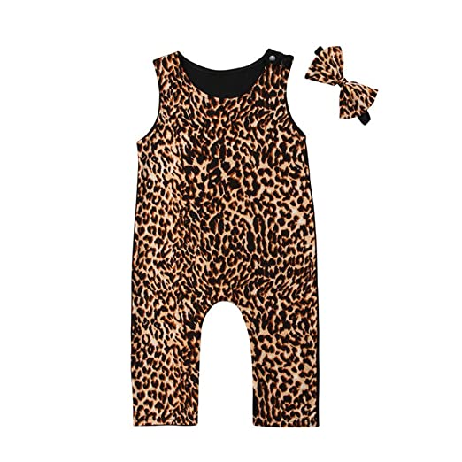 b1738ea8e Amazon.com  Infant Baby Girl Toddler Summer Leopard One Piece Romper ...