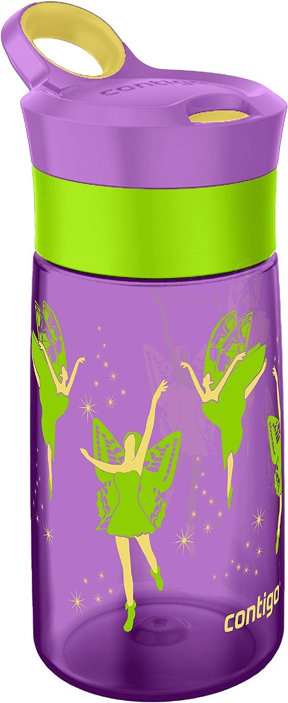 p/úrpura Bioasis Botella de Agua para ni/ños de 480 ml botella para ni/ños a partir de 36 meses Tazas para ni/ños aisladas de derrames con Pajita para Viajes Escolares sin BPA