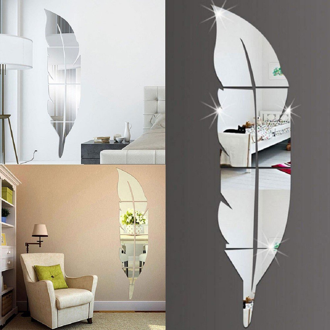 Naladoo 3D Feather Mirror Wall Stickers Acrylic Art Mirror Decal Mural Wall Sticker Fashion Surface TV Sofa Setting Wall Wallpaper,73X18cm,Silver IU32566436436