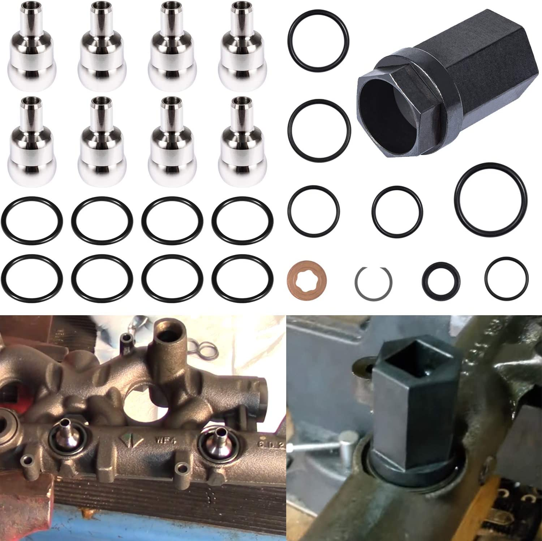 High Pressure Oil Rail Ball Tube O-Rings Repair Kit & Nipple Cup Socket & Injector Seal Kit for Ford 6.0L Diesel 2003-2007