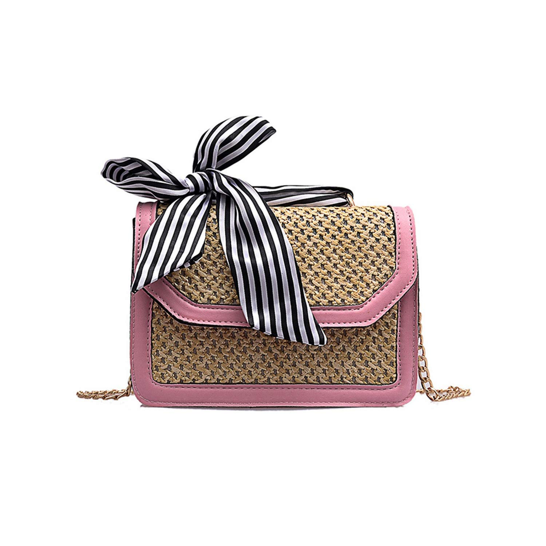 Women Ribbon Straw Bag...