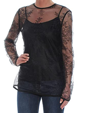 846ae2afd97 DKNY Womens Black Lace Long Sleeve Illusion Neckline Tunic Top Size: XS:  Amazon.co.uk: Clothing
