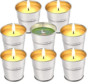 LucaSng Citronella Candles Outdoor Indoor, 8 Pack Scented Candles Set Bulk Made with Lemongrass Essential Oil Natural Soy Wax for Garden Patio Yard Home Balcony