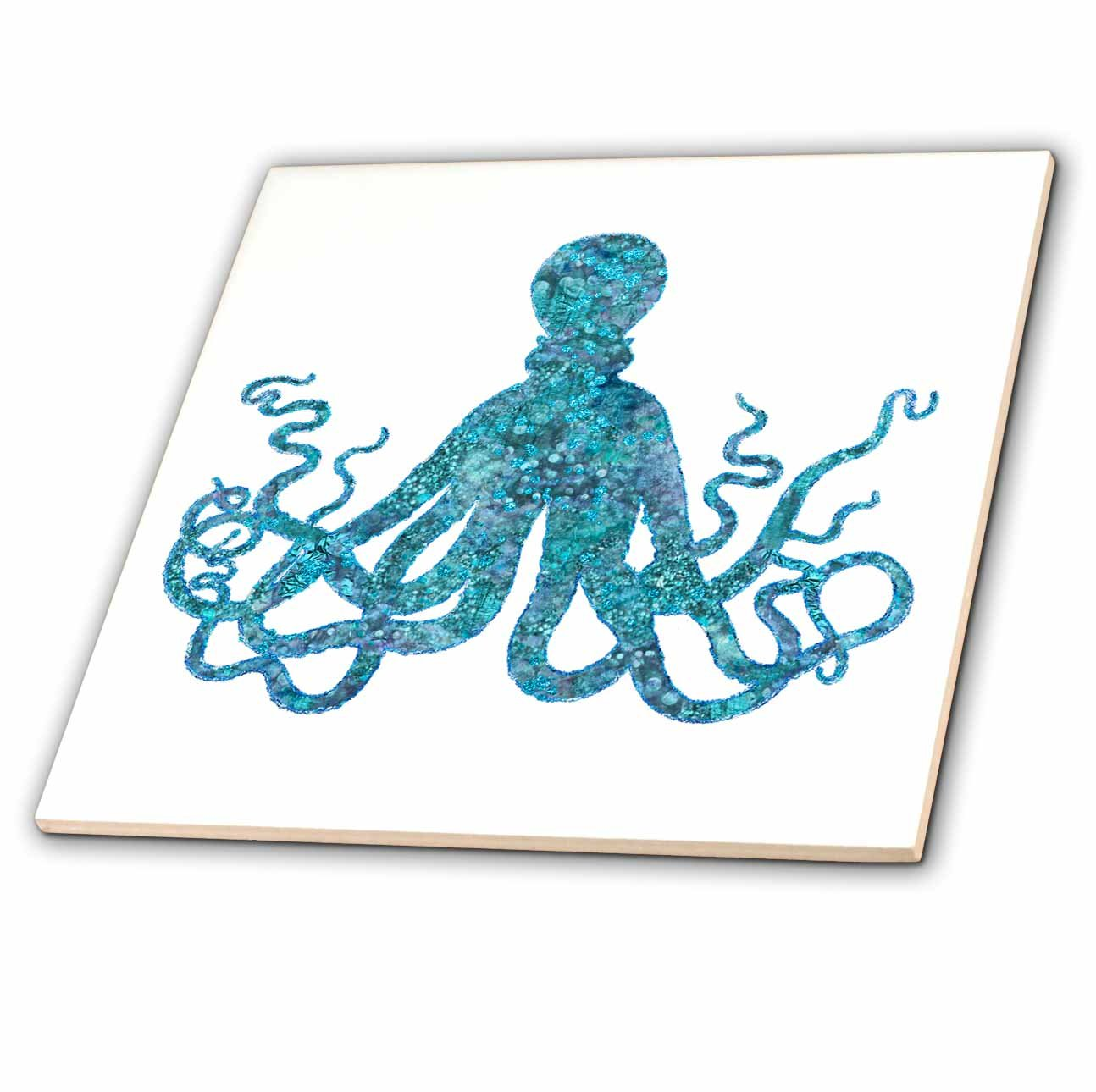 3dRose Andrea Haase Animals Illustration - Turquoise Blue Glamorous Octopus Art - 6 Inch Ceramic Tile (ct_282455_2)