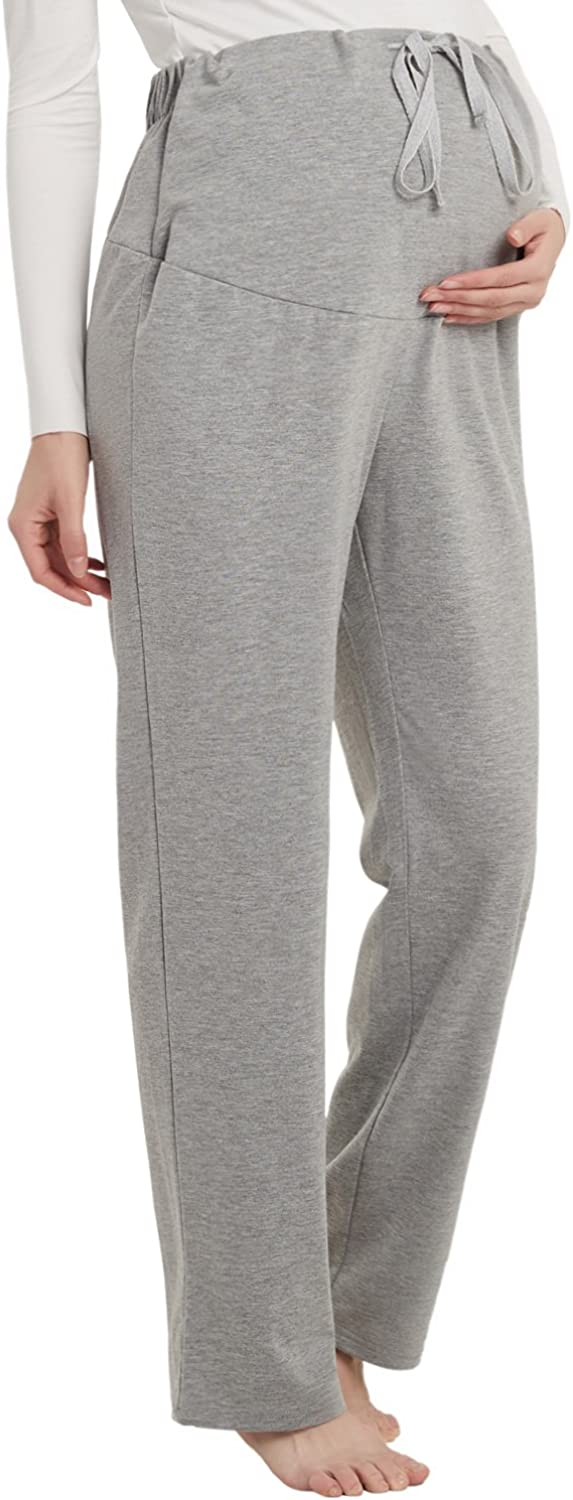 Women/'s Maternity Wide Straight Lounge Pants Stretch Pregnancy Loose Trousers