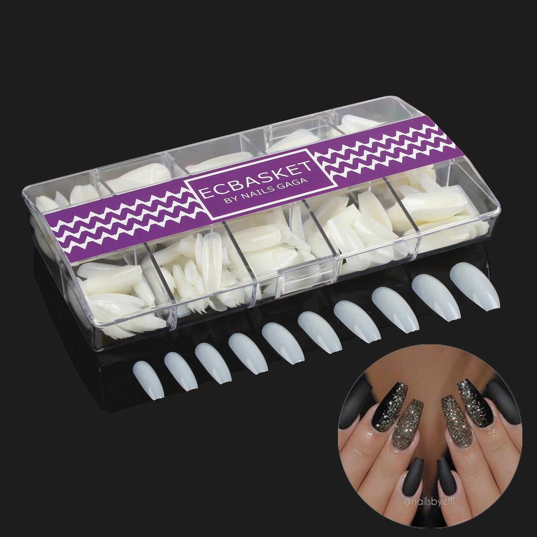 500 PCS Coffin Fake Nail Tips 10 Sizes Perfect Length Acrylic Art ...