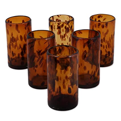 e18b4d8682b3 Amazon.com | NOVICA Hand Blown Brown Recycled Glass Water Glasses, 12 oz ' Tall Tortoise Shell' (set of 6): Drinkware Sets: Mixed Drinkware Sets