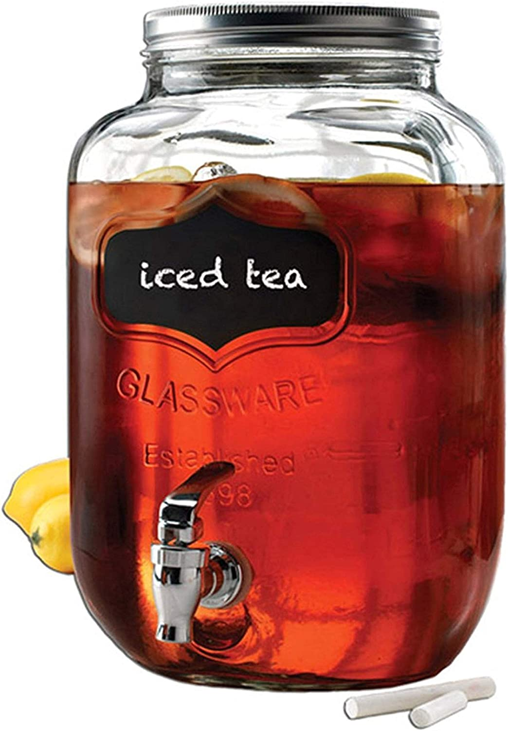 Circleware Chalkboard Sun Tea Mason Jar Beverage Dispenser, Fun Party New Entertainment Home Kitchen Glassware Pitcher for Water, Juice, Beer, Punch & Iced Cold Drinks, Yorkshire, 2 Gallon