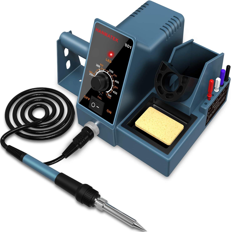 Soldering Station,HANMATEK Soldering Iron - Soldering Iron Station, weller Soldering Iron 392℉-896℉ Temperature Adjustable,6 seconds rapid heating Soldering kit with Solder Bracket SD1