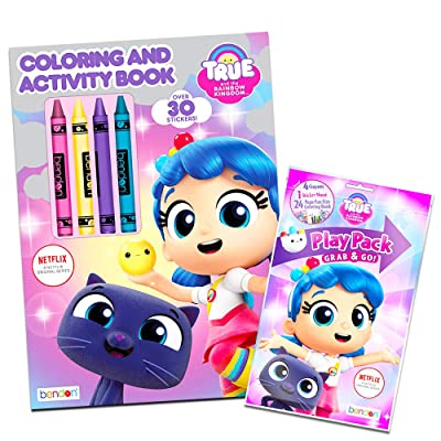 Bendon True and The Rainbow Kingdom Coloring Play Set - Coloring and Activity Book, Play Pack, Crayons, and True and The Rainbow Kingdom Stickers (True and The Rainbow Kingdom Party Supplies): Toys & Games