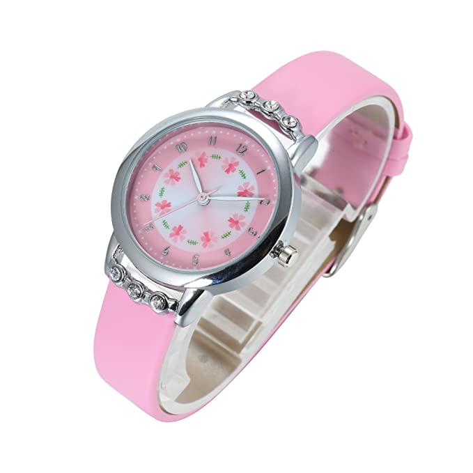 Amazon.com: Girl Watch - Stylish Pink Leather Strap Wrist Band Flowers Dial with Diamond Cute Watch for Girls Casual Waterproof Wristwatches for Kids: ...