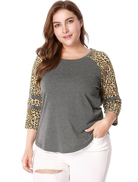 ceef565b Agnes Orinda Women's Plus Size Raglan Sleeve Contrast Leopard Print T-shirt  1X Grey