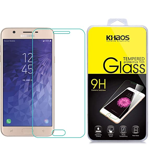 quality design 545eb 4b74f Screen Protector for Galaxy J7 Refine 2018, KHAOS Tempered Glass Screen  Protector for Samsung Galaxy J7 Refine (2018) 9H HD-Clear Ant-Scratch Glass  ...