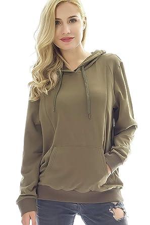 313b36483838e Bearsland Women's Maternity Sporty Hoodie Breastfeeding Shirt Nursing  Sweatshirt with Pockets,ArmyGreen,s