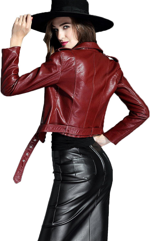 LY VAREY LIN Womens Faux Leather Motorcycle Jacket PU Slim Short Biker Coat