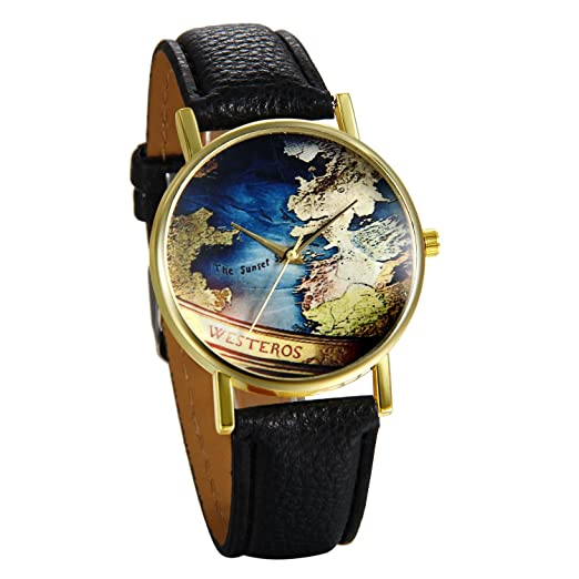 JewelryWe Reloj de Pulsera de Mujer Mapamundi Antiguo, Correa de Cuero Negro Retro Vintage, Azul Reloj Cuarzo Analogico Buen Regalo Para Mujeres: Amazon.es: ...