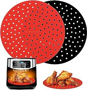 INYOU Reusable Air Fryer Liners | Non-Stick Silicone Air Fryer Accessories | Air Fryer Accessory Mats Silicone Liners 8in Round, Air Fryer Mats 2pack