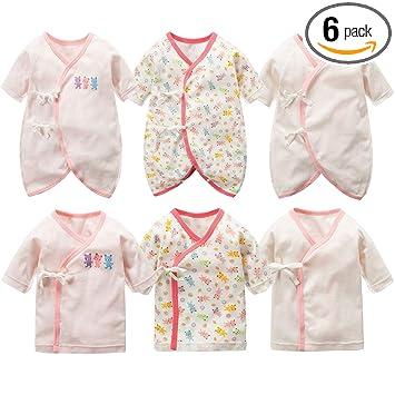 98a432c010717 新生児肌着 6枚組 赤ちゃん コンビ肌着 短肌着 綿100% ベビー服 長袖ロンパース