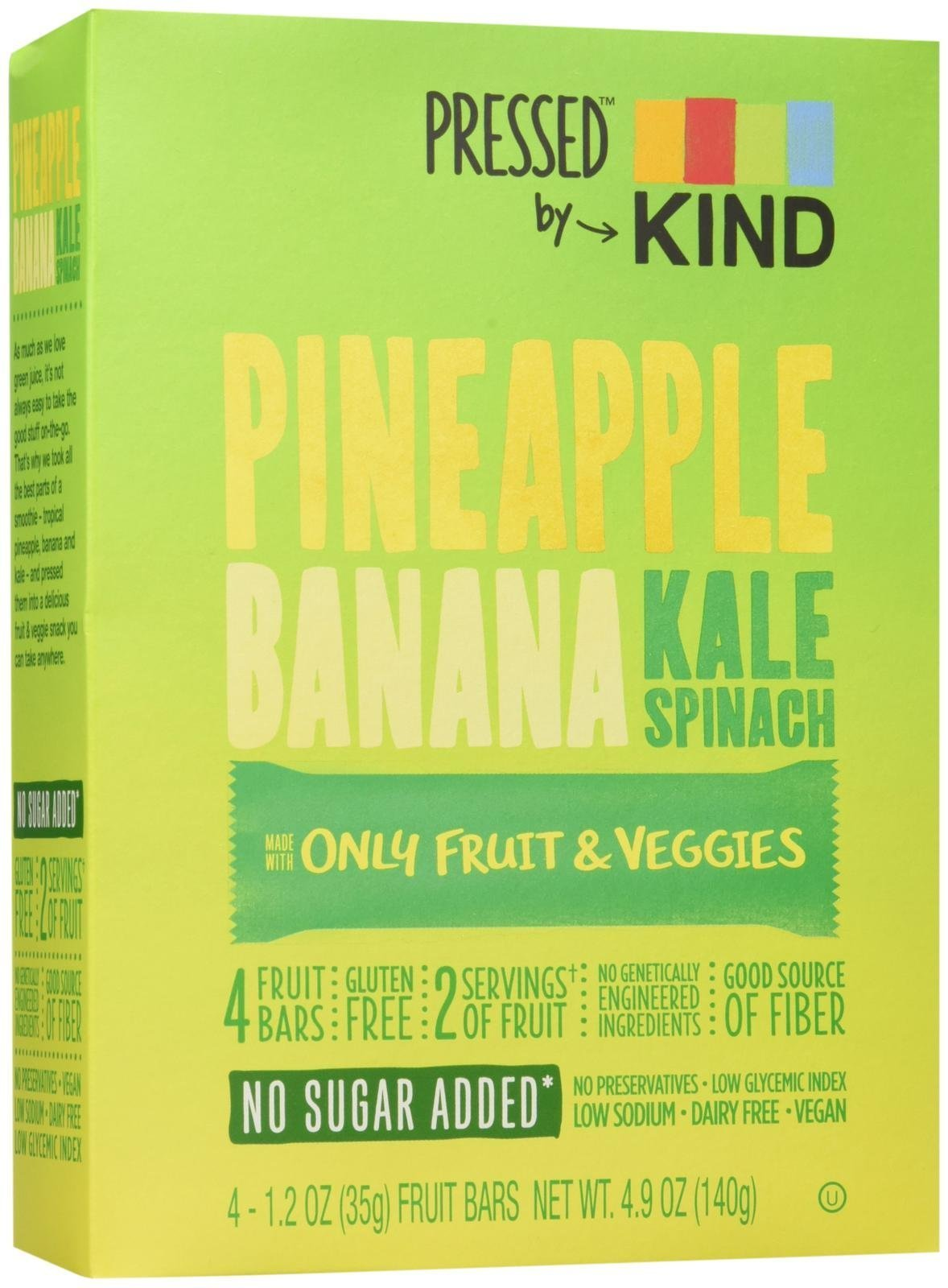 KIND Pressed by Bars - Pineapple Banana Kale Spinach, 1.2 Oz, 4 Ct, Net Wt. 4.9oz (140g)