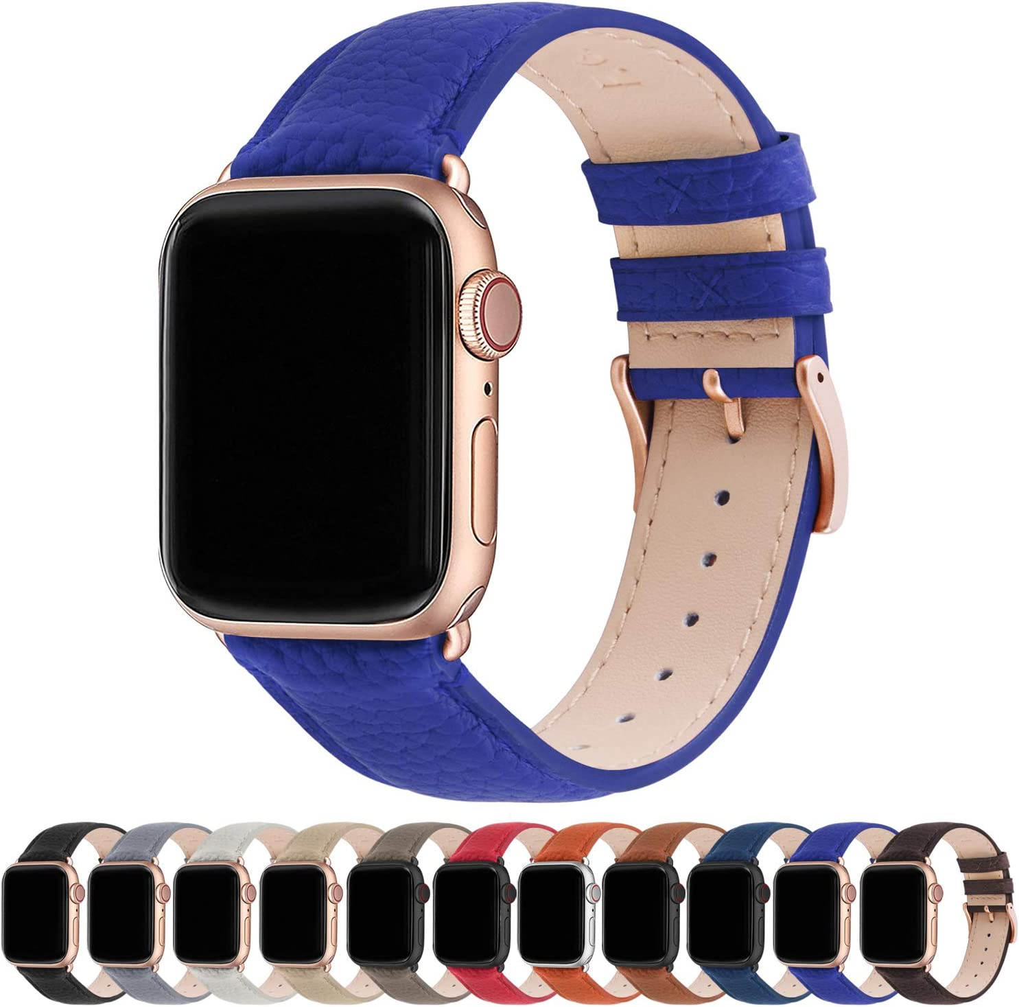 Fullmosa Compatible Apple Watch Band 44mm 42mm 40mm 38mm Leather Compatible iWatch Band/Strap Compatible Apple Watch SE & Series 6 5 4 3 2 1, 38mm 40mm, Electric Blue + Rose Gold Buckle