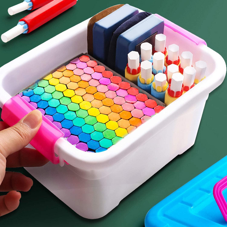 100pcs lavabile colorati gesso senza polvere con 5pcs Chalk Holder Clip e 1pcs Gomma per Scuola Ufficio Lavagna Vetro