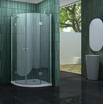 Duschkabine CLARABO 90 x 90 x 180 cm (Viertelkreis) ohne ... | {Duschabtrennung glas rund 46}