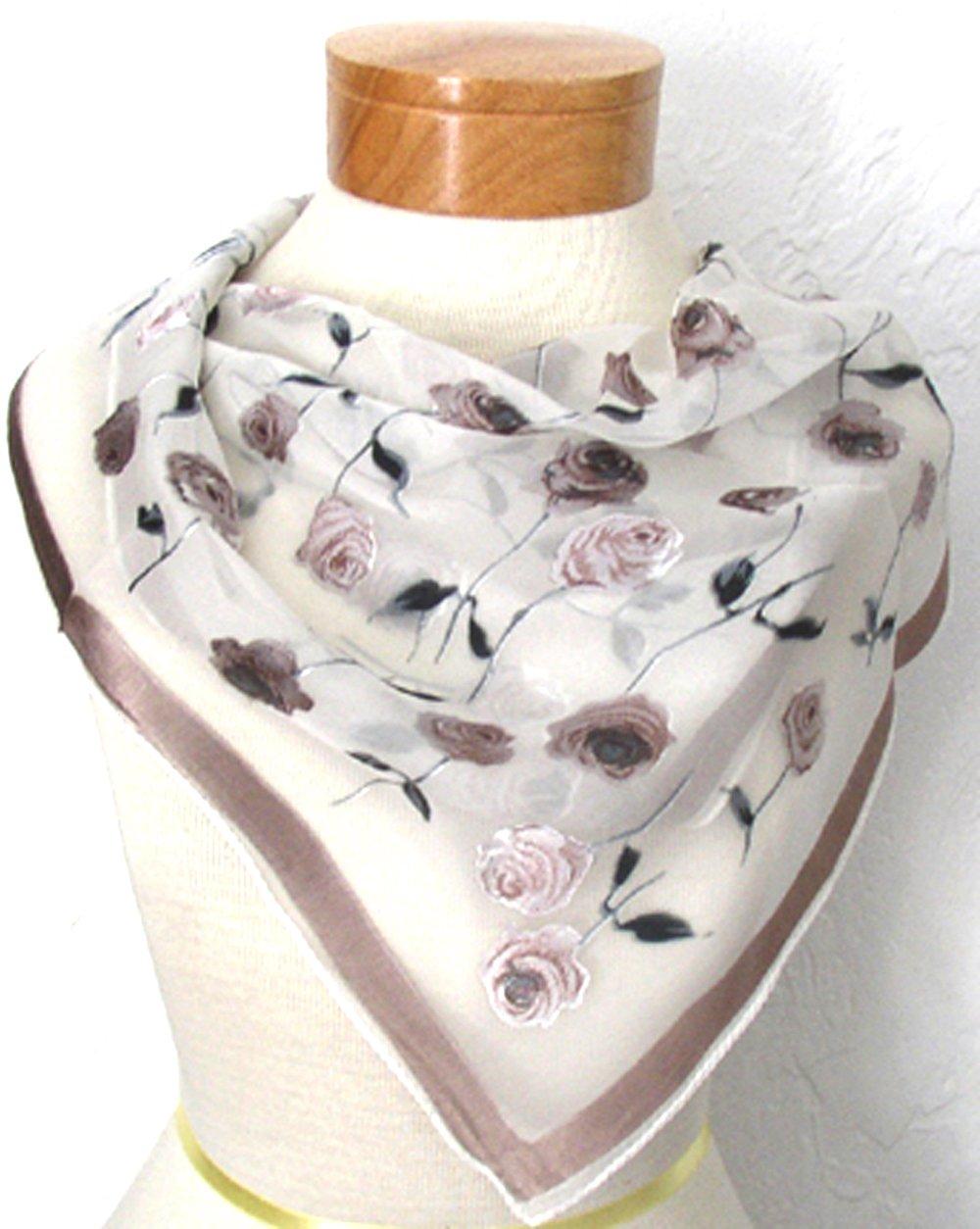 White Burnout Silk and Rayon Scarf Bandana Headband By Silksalon