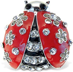 Puzzled M Ladybug Refrigerator Sparkling Magnets with Crystals, 5, Red, black, silver