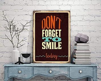 Cartel de Metal con Texto en inglés Smile Signs Dont Forget ...