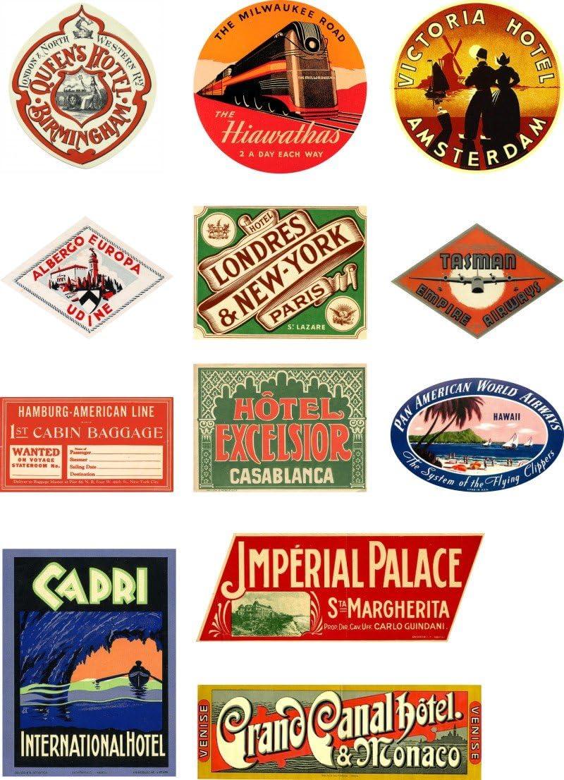 Vinyl Stickers Luggage Label Adirondack Mountains Vintage Style Travel Decals