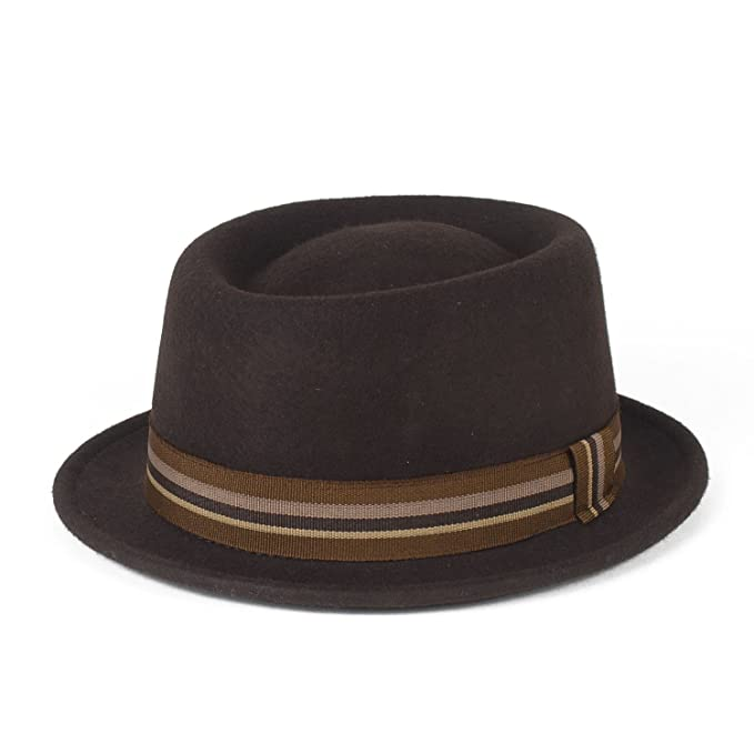 d3a6a173e3deb Stylish Brown 100% Wool Pork Pie Hat Waterproof   Crushable