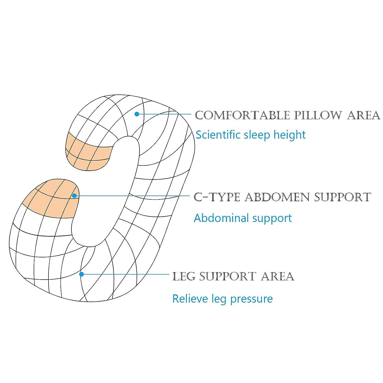 con Funda extra/íble y Lavable,Regalos para futuras Madres Almohada de Embarazo y Maternidad Gris Claro D4P Display4top Almohada con Forma de C
