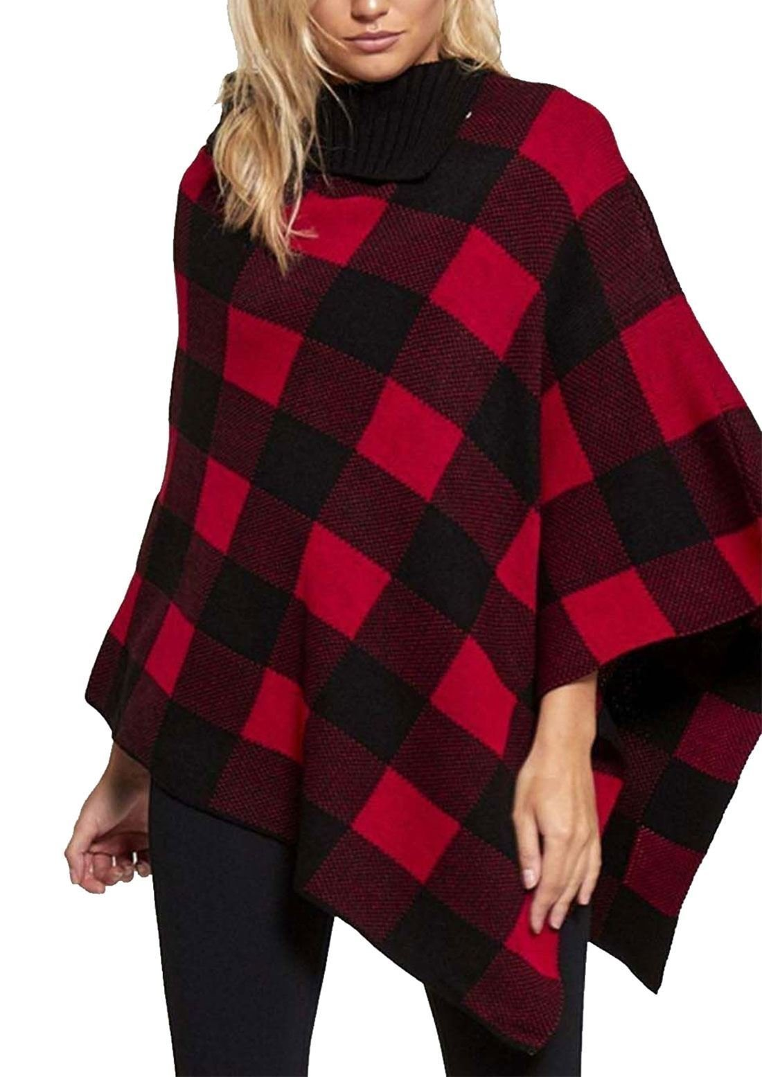 Ladies Cardigan Diamond Checked Scarf Winter Cape Shawl Wrap Knitted Poncho#(Red With Black Diamond Check Poncho#US 8#Womens)