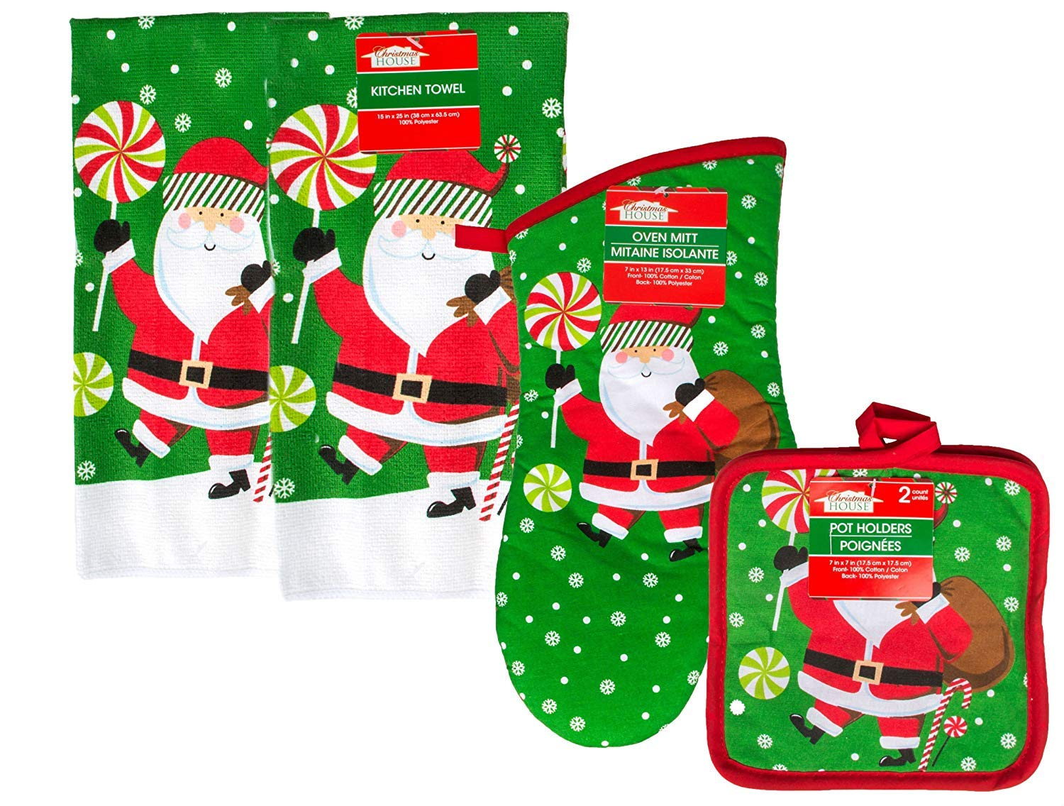 Christmas House Santa Kitchen Towels, Oven Mitt And Pot Holders - 5 Piece Set Greenbrier Interntional