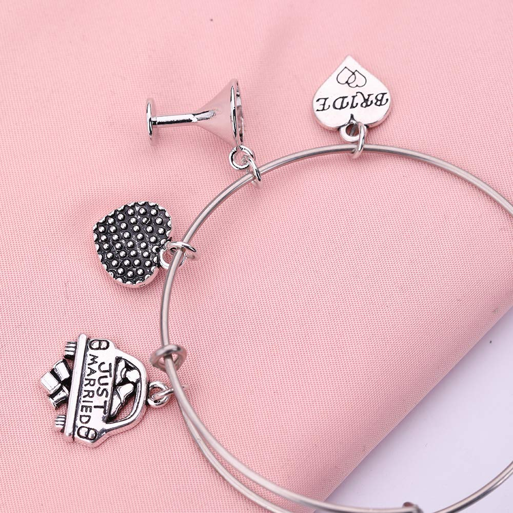 EUEAVAN Romantic Goblet Just Married Bride Letter Heart Stainless Steel Bracelet for Newlyweds Couples