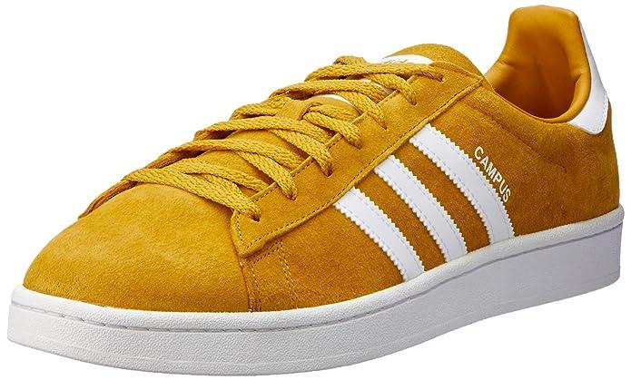 Gelbe Herren adidas Campus Schuhe mit weißen Streifen