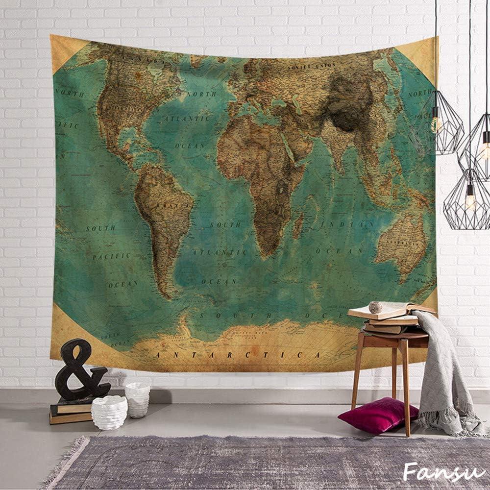 Fansu Tapiz de Pared Grande Mapa del Mundo Rectangular, artistico tapices Colgante hogar decoración Sala de Estar diseño psicodélico póster (L-200 * 150CM,Tierra): Amazon.es: Hogar