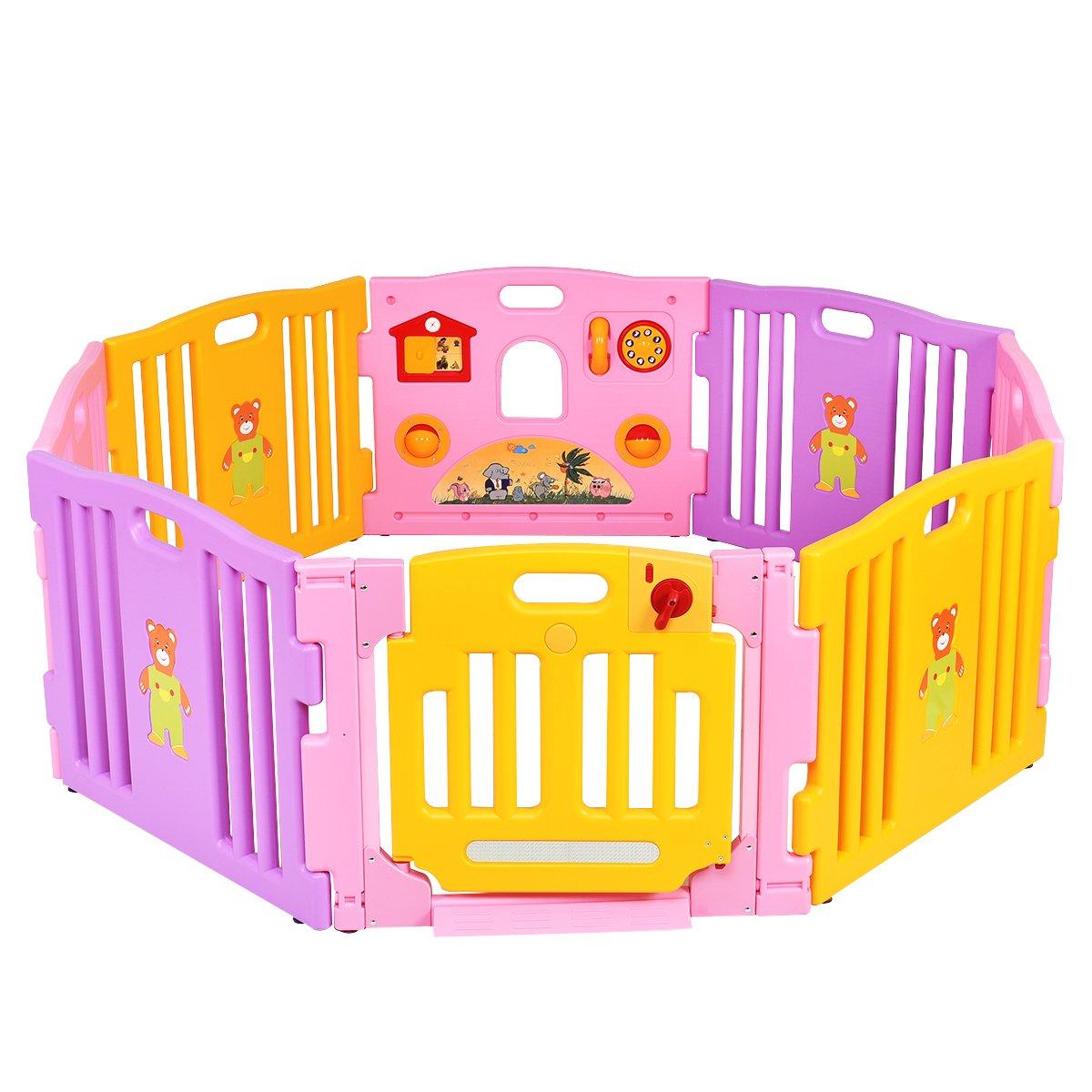 Costway 8 Panel Baby Playpen Large Kids Activity Center Room Divider Toy Pink Indoor (Playpen Only)