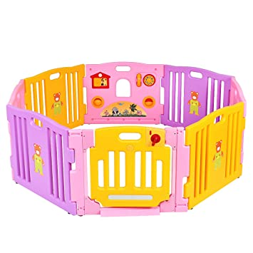 Costway 8 Panel Baby Playpen Large Kids Activity Center Room Divider Toy  Pink (Playpen Only