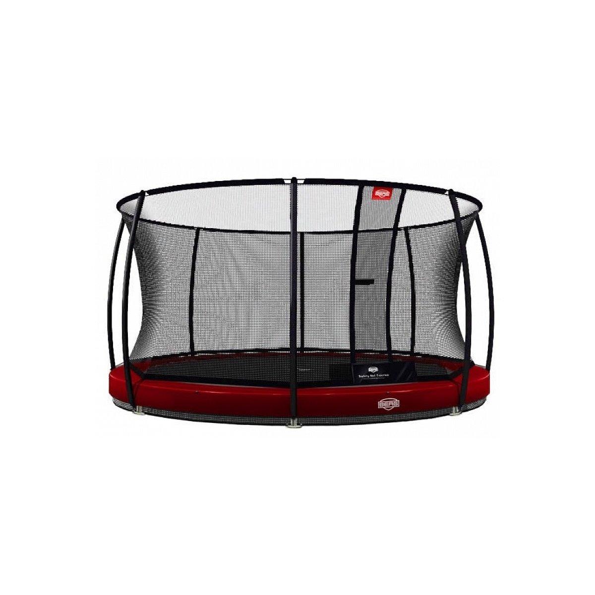 Berg® Trampolin InGround Elite mit Sicherheitsnetz Deluxe, ø 380 cm, Rot