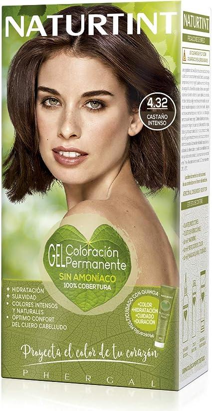 Naturtint | Coloración sin amoniaco | 100% cobertura de canas | Ingredientes vegetales | Color natural y duradero | 4.32 Castaño Intenso | 170ml