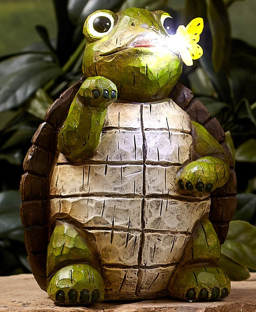 The Lakeside Collection Solar Garden Statues Turtle