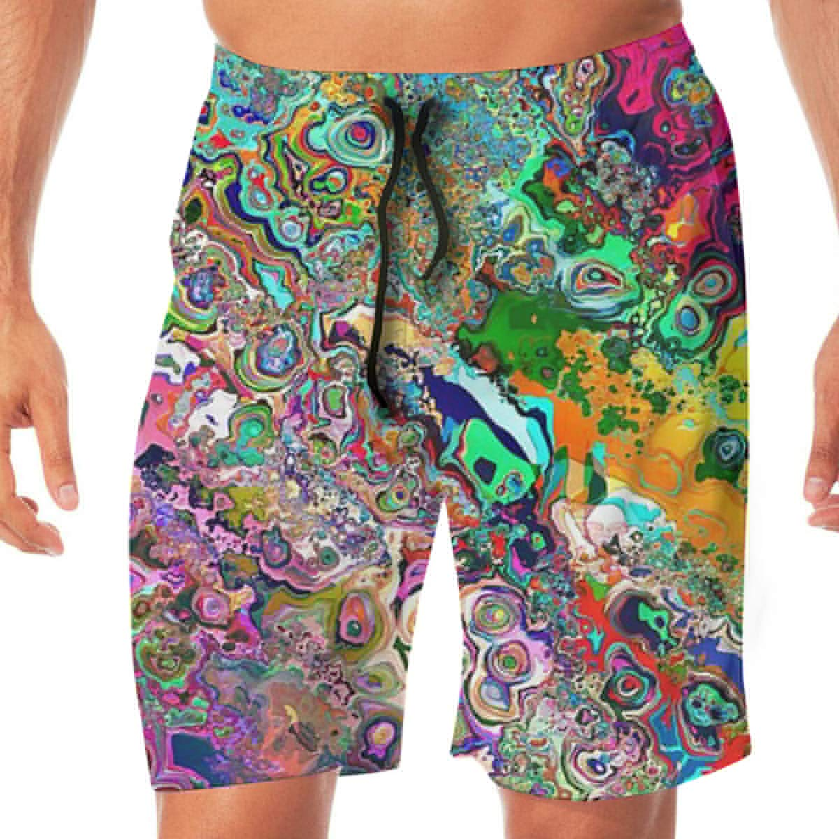 MaoYTUI Colored Psychedelic Trippy Art Mens Swim Trunks Boys Quick Dry Bathing Suits Drawstring Waist Beach Broad Shorts Swim Suit Beachwear with Mesh Lining