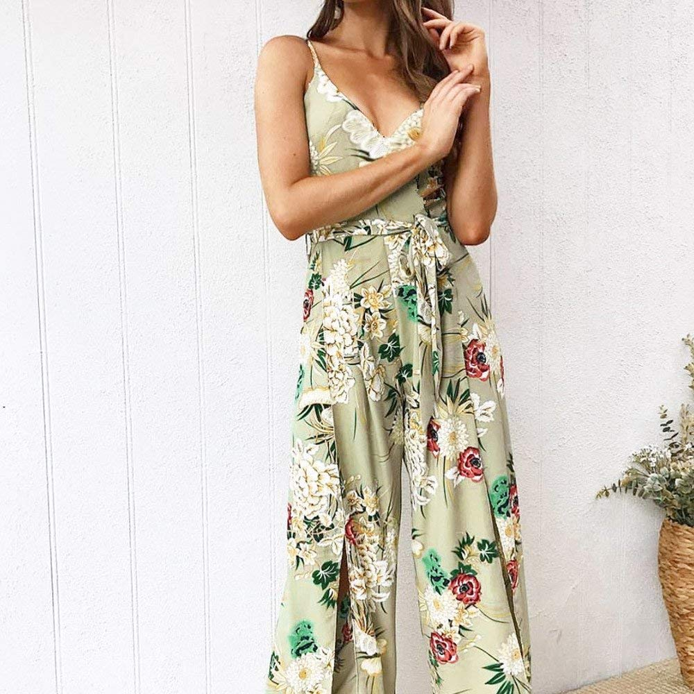 Ladies Fashion Elegant Jumpsuit Women Jumpsuits Strappy Floral Printed Slit Long Holiday Trouser Playsuits Green M by GWshop (Image #3)
