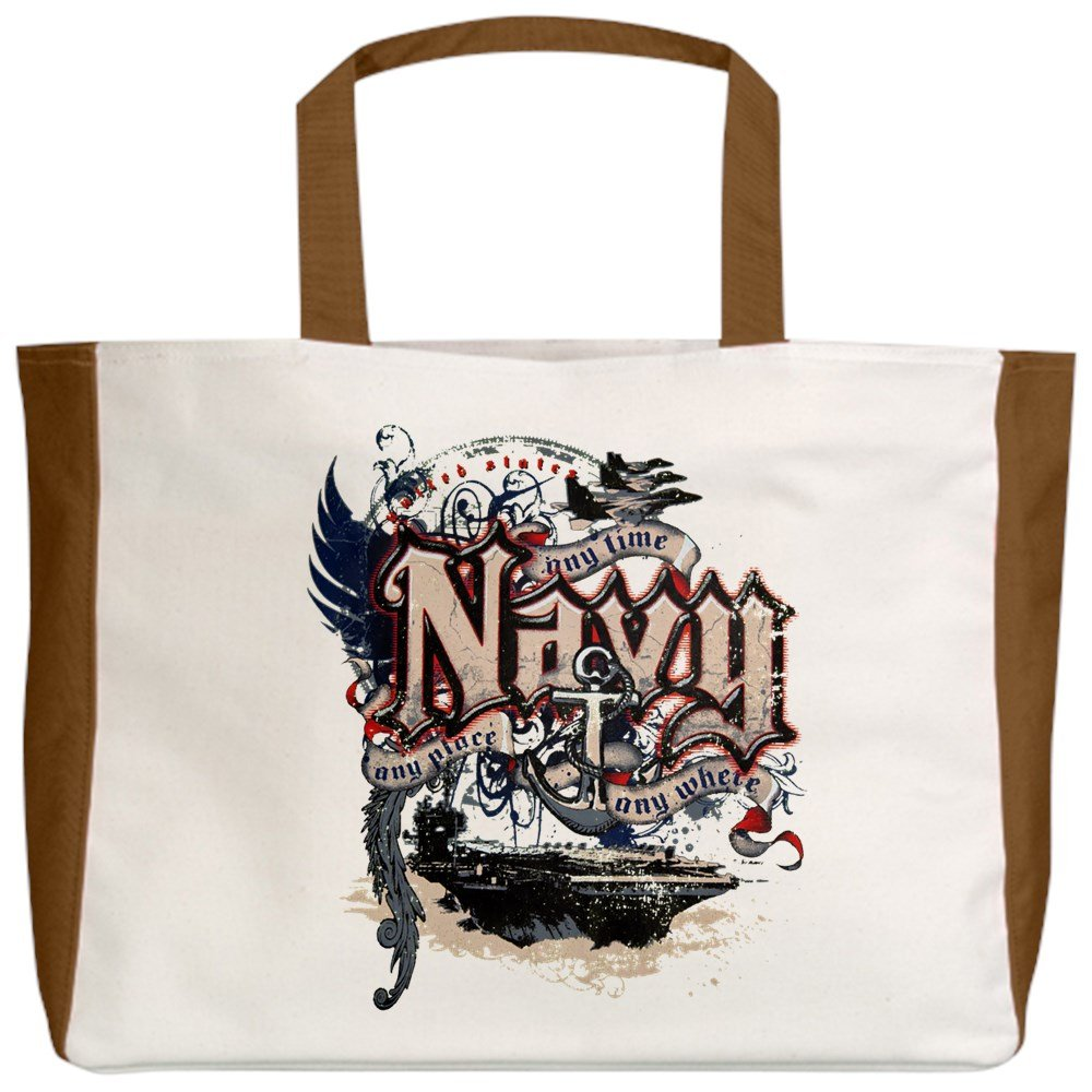 2-Sided Royal Lion Beach Tote US Navy Any Time Any Place Any Where