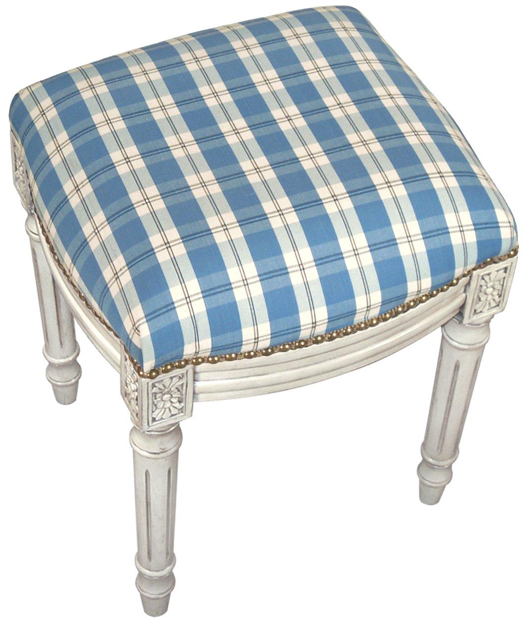 SketchONE Upholstered Vanity Stool, Plaid, Blue