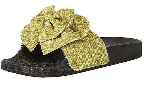 7091b5ee7d3ef Refresh Footwear Women's Glitter Bow Slip on Slide Sandal