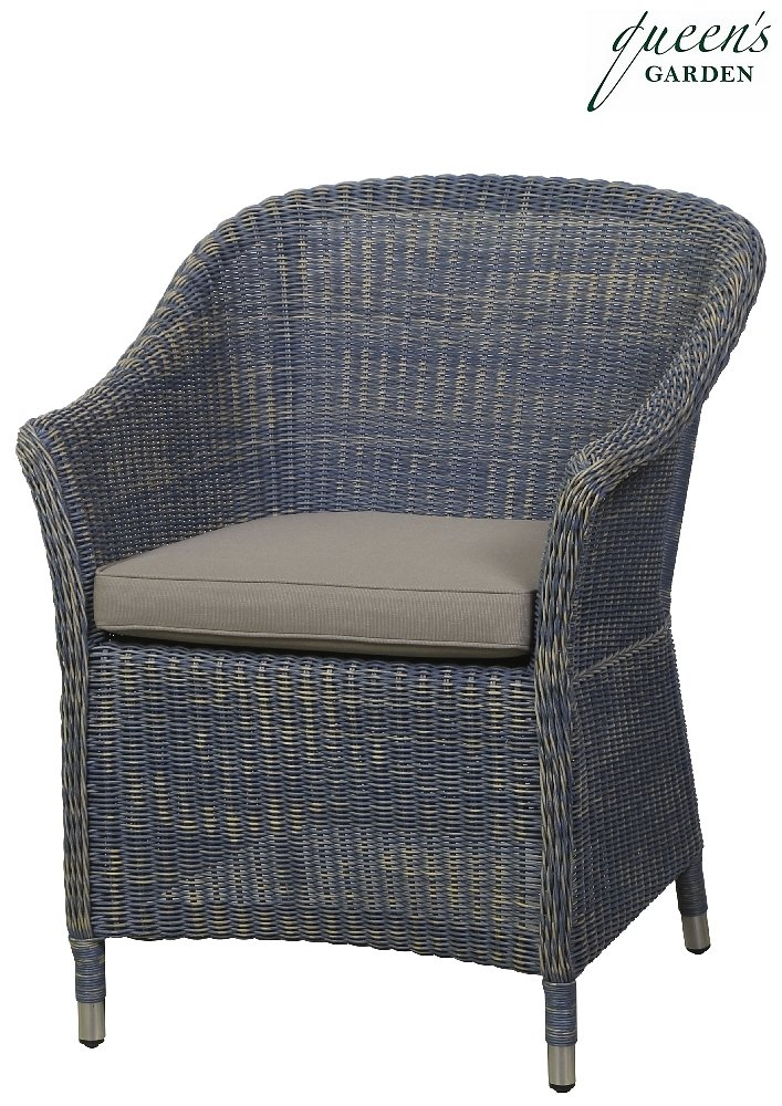 Queen´s Garden 367589 Country Sessel Aluminium Gardino®-PRO loom-optik blau 100% Elastolefin beige