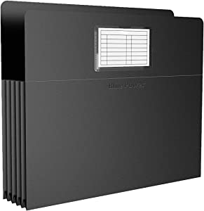 "12 Pack BluePower Accordion Expanding File Folder, Letter Size, 6"" Expansion, Receipt/Document/Taxes/Files Organizer, Waterproof Plastic Accordian Filing Box with Label Pockets (Black)"