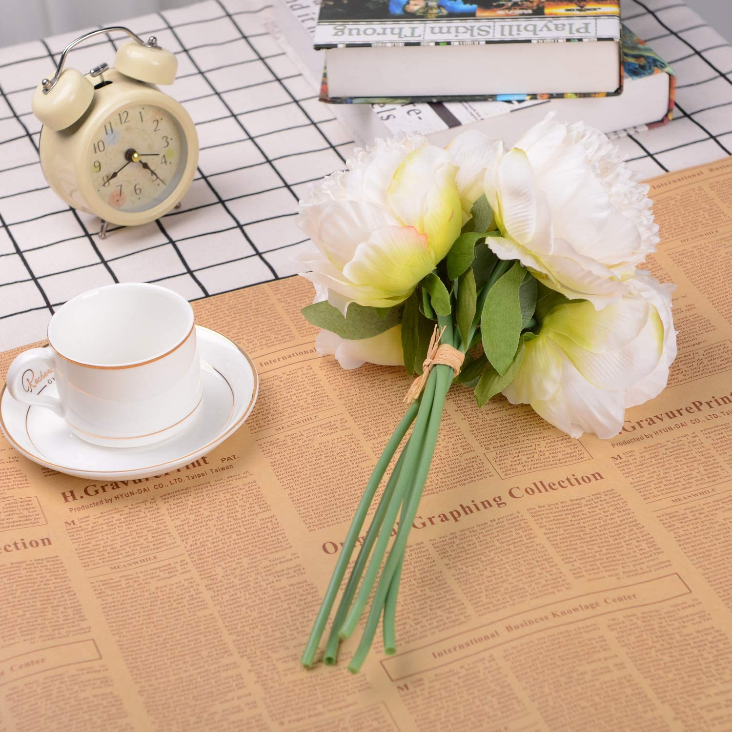 Peach 2 Pack Silk Flowers Bouquet 10 Heads Peony Fake Flowers for Wedding Home Decoration Lvydec Vintage Peony Artificial Flowers